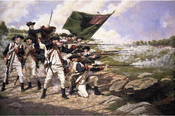 English: The Delaware Regiment at the Battle of Long Island.