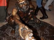 Homo heidelbergensis bronze statue