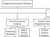 English: The figure summarizes the main methods used in systems for computer-assisted plagiarism detection.