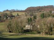 English: Slad. The village of Slad lies in one of the valleys above Stroud and is famous as the home of writer Laurie Lee and the setting for his book 'Cider with Rosie'.