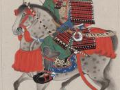 English: Samurai on horseback, wearing armor and horned helmet, carrying bow and arrows