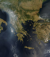 English: Wildfires across the Balkans in late July 2007, seen from space