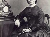Cropped image, from original. Most famous and widely circulated photograph of Clara Barton. Photographs scanned and edited with the assistance of Volunteer Bruce Douglas. Clara Barton National Historic Site, United States Department of the Interior, Natio