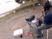 Kamal Edirisinghe, 4S7AB, from Sri Lanka, operating a portable Amateur Radio station south of Stockholm, Sweden.