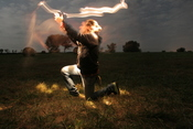 A still from a recent example of light writing with a human subject in frame.