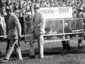 Photograph of Biff and Bennie, University of Michigan live wolverine mascots at Michigan Stadium, circa 1927