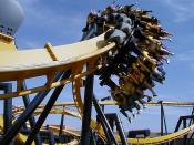 Inverted coaster 'Batman the Ride' at Six Flags over Texas.