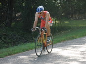 Time trial bike. Note the smaller frame, and more aggressive riding position