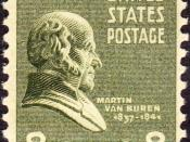 English: US Postage stamp: Martin Van Buren, Issue of 1938, 8c
