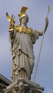 The statue of pallas Athena in front of Parliament Building, Vienna, Austria.