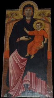 Italiano: Vergine col Bambino, attribuita alla scuola di Cimabue o a Giotto giovane, pieve di santa maria assunta , a stia