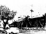 Ship run aground by Typhoon Ora