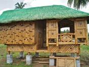 English: Nipa Hut, photo taken near Balanac River in Barangay Ibabang Atingay, Municipality of Magdalena, Laguna, Philippines in April 2011.