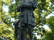 Statue at Simon Kenton's grave in Urbana, Ohio