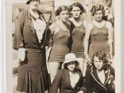 English: Mrs Chambers (chaperone), Bonnie Mealing, Clare Dennis, Frances Bult, Eileen Wearne, Thelma Kench (N.Z. sprinter) at the Los Angeles Olympics 1932 / by unknown photographer