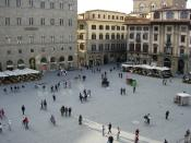 View at Piazza della Signoria from the front balcony of Palazzo Vecchio, in Florence
