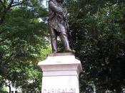 Giuseppe Garibaldi statue in Washington Square Park, Lower Manhattan borough of New York, USA.