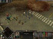 A squad of Space Marines engage a group of Orks next to a Strategic Point.