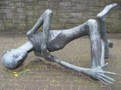 "The sculpture ""Der sterbende Häftling"" (The dying prisoner) by Françoise Salmon at the memorial place of the KZ Neuengamme."