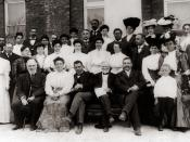 Andrew Carnegie (front row, center)and Robert C. Ogden (front row, far left) visiting faculty members of the Tuskegee Institute in Tuskegee, Alabama. Booker T. Washington and his wife Margaret James Murray are sitting between Carnegie and Ogden.