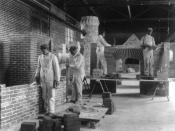 Students in a bricklaying class, Hampton Institute, Hampton, Virginia
