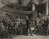 English: Henry Clay addressing the U.S. Senate, Daniel Webster is seated to the left of Clay, John C. Calhoun is to the left of the Speaker's chair
