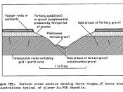 Diagram of various types of alluvial placer deposits
