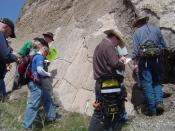 English: Students look at a section of the exposed Wasatch Fault, a classic normal fault located in North Salt Lake, Utah.
