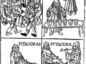 Woodcut showing Pythagoras with bells, a kind of glass harmonica, a monochord and (organ?) pipes in Pythagorean tuning. From Theorica musicae by Franchino Gaffurio, 1492 (1480?)