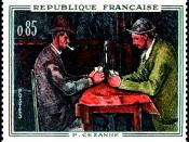 English: Postage stamp of The Card Players by Paul Cézanne, issued by the Government of France