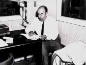 Pablo Neruda during a Library of Congress recording session, 20 June 1966