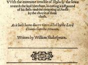 Title page of the first quarto of Merchant of Venice'' (1600).