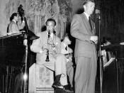 Photo of Benny Goodman, his band and vocalist Jackie Searle.