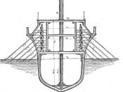 English: A late 19th-century erroneous interpretation of the oar arrangement of an ancient quinquereme.