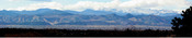 The Front Range as viewed from Greenwood Village south of Denver, Mount Evans is on the far right