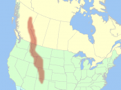 Map of the Rocky Mountain range in the Mountain West.