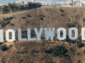 English: The Hollywood Sign, shot from an aircraft at about 1,500' MSL.