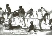 English: A racist drawing of blacks in the 1890s, made by whites. The caption says