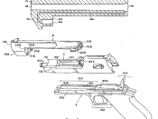 Collection of two drawings taken from patent 4619184, slightly modified (mirrored one drawing), and put into one image. Used to illustrate the Desert Eagle pistol's gas operated mechanism.