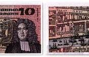 Swift as depicted on the Irish £10 banknote, issued 1976–1993.