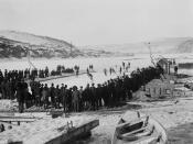 A hockey game in the Yukon Territories circa 1900