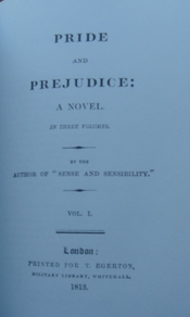 Title page of original edition of Pride and Prejudice (1813)