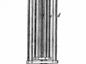 Nine rod brass-iron gridiron pendulum on stand, used for demonstrations in 1870s