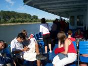 Passengers on a boat in the Danube Delta.