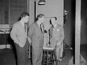 Philip Martin, Jr., technical director, Spencer Tracy, narrator and Garson Kanin, director, at the Long Island Studios of the Army Signal Corps for the recording of Spencer Tracy's narration of the