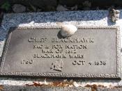English: Black Hawk plaque on grave at Iowaville Cemetery