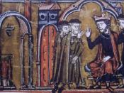 BaldwinII ceeding the location of the Temple of Salomon to Hugues de Payns and Gaudefroy de Saint-Homer.