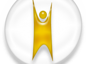 English: Happy human Humanist logo, white and golden version