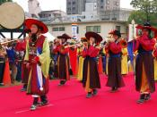 Traditional band of Korea playing a music with instruments.