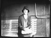 Portrait of theatre actress Beryl Sidney sitting on a bench on board RMS MOLDAVIA II
